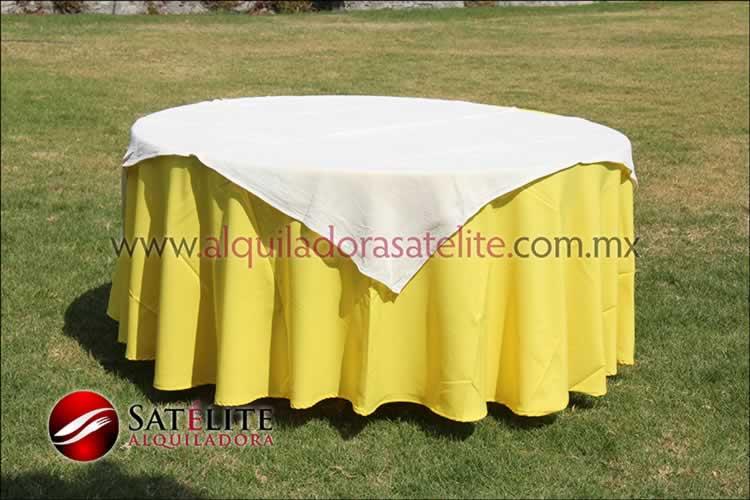 Mantel redondo amarillo yute