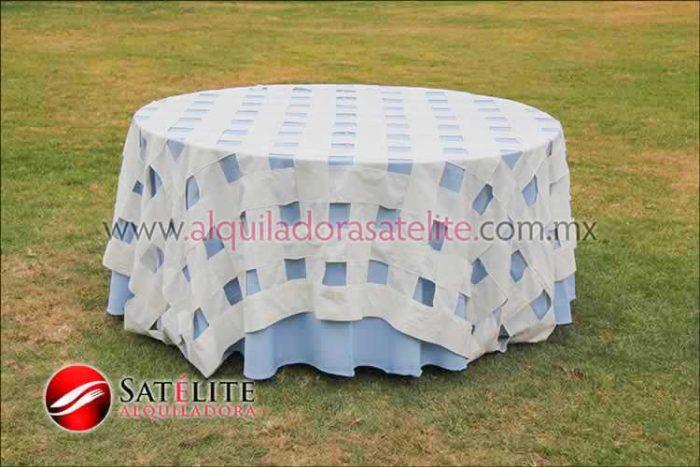 Mantel redondo azul cielo entrelazado manta