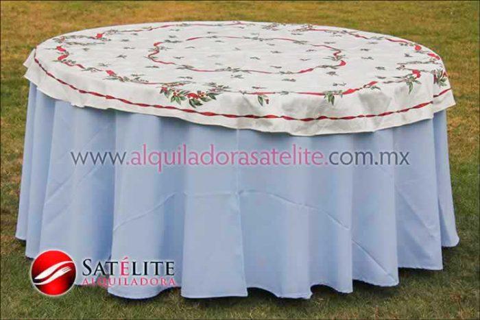 Mantel redondo azul cielo navideño marfil