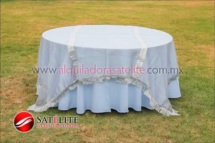 Mantel redondo azul cielo organza plata