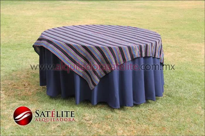 Mantel redondo azul marino cambaya