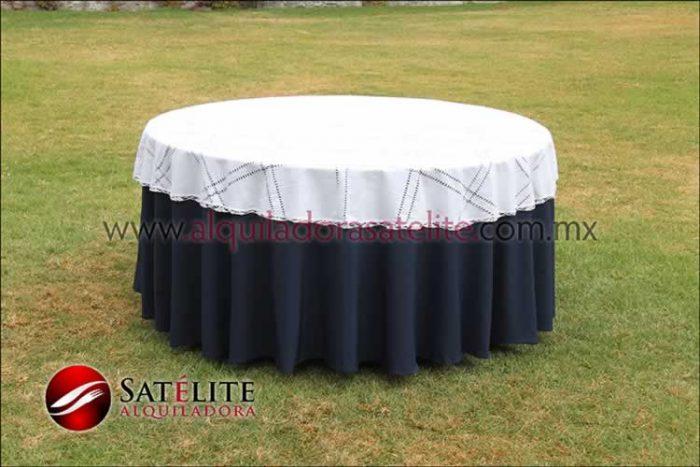 Mantel redondo azul marino deshilado blanco