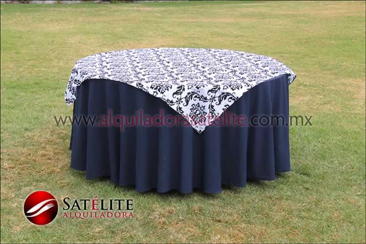 Mantel redondo azul marino estampado blanco y negro