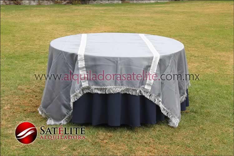 Mantel redondo azul marino organza plata