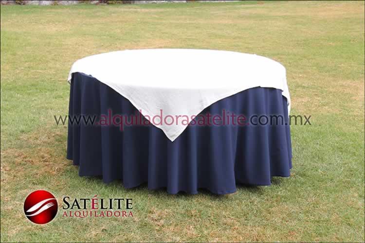 Mantel redondo azul marino yute