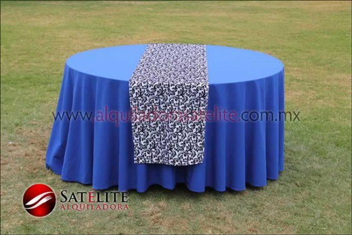Mantel redondo azul rey camino estampado 2