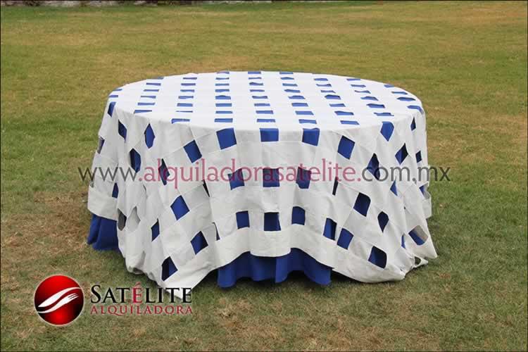 Mantel redondo azul rey entrelazado manta