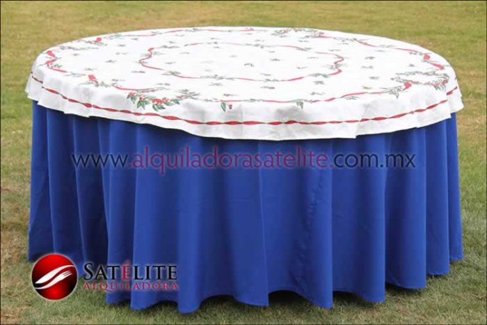 Mantel redondo azul rey navideño marfil