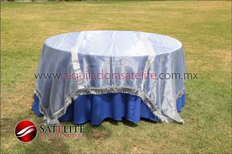Mantel redondo azul rey organza plata