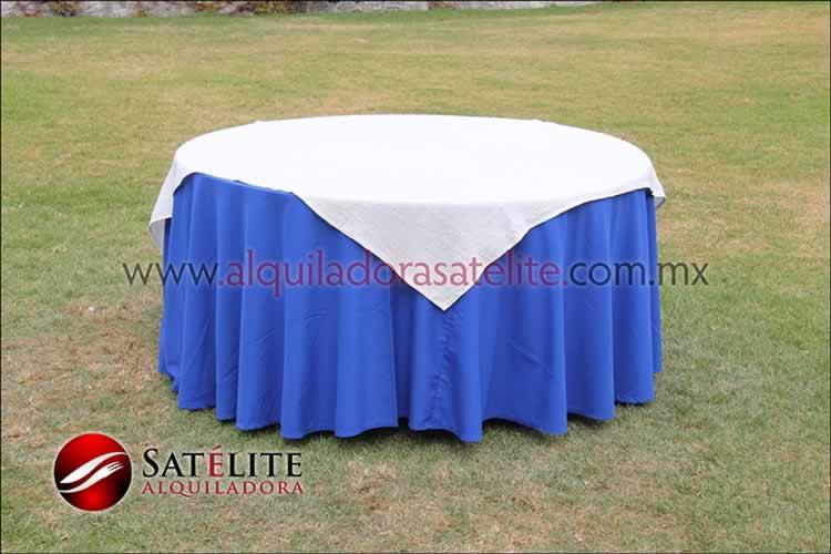 Mantel redondo azul rey yute