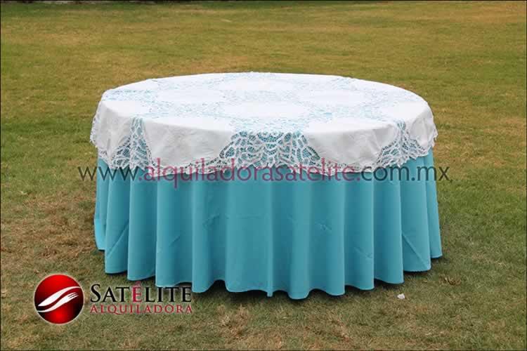 Mantel redondo azul turquesa brujas 1