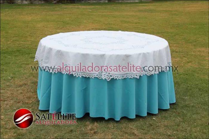 Mantel redondo azul turquesa brujas 2