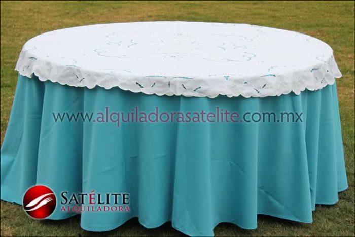 Mantel redondo azul turquesa calado
