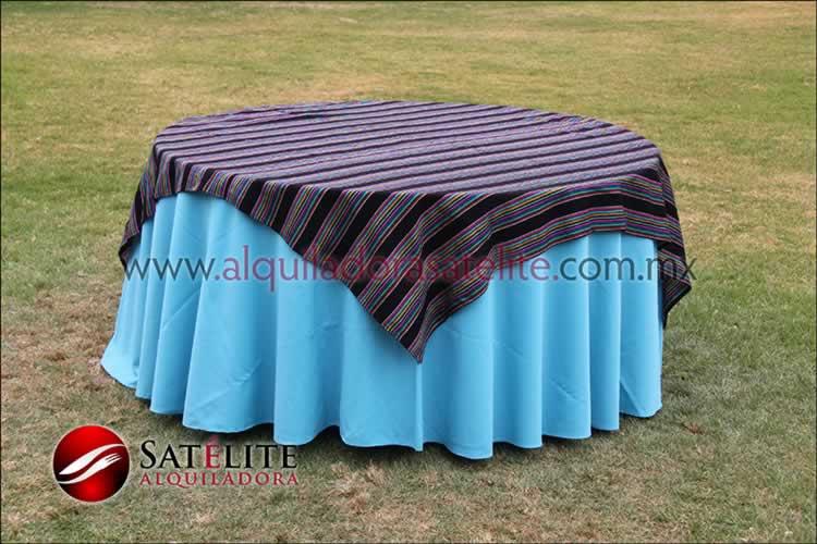 Mantel redondo azul turquesa cambaya