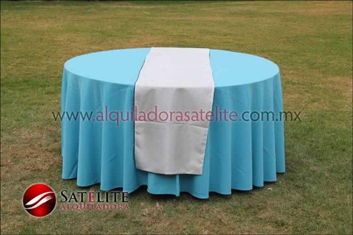 Mantel redondo azul turquesa camino blanco