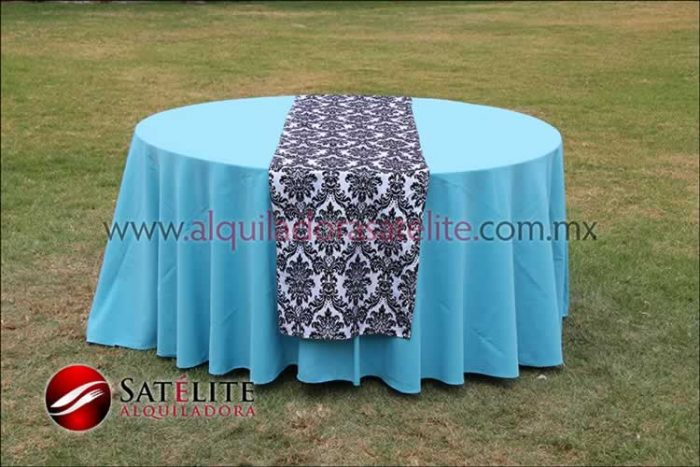 Mantel redondo azul turquesa camino estampado 1