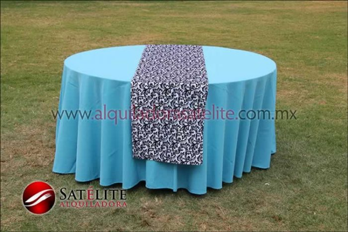 Mantel redondo azul turquesa camino estampado 2