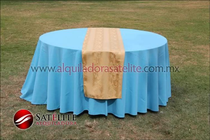 Mantel redondo azul turquesa camino jackard