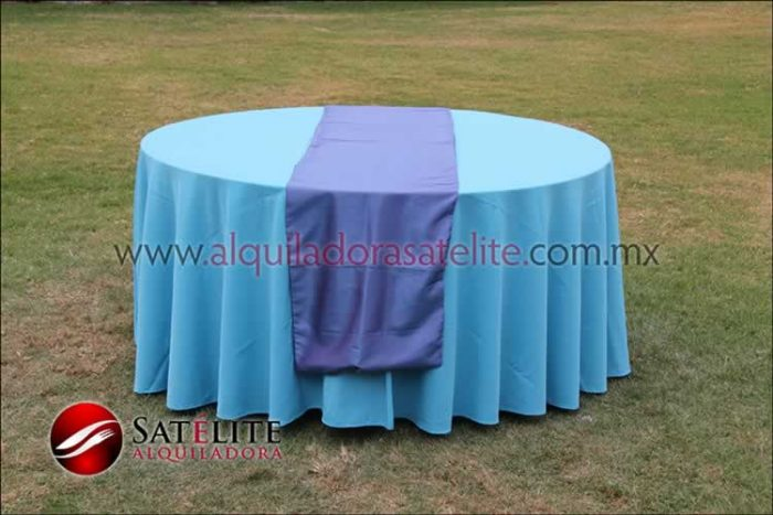 Mantel redondo azul turquesa camino morado