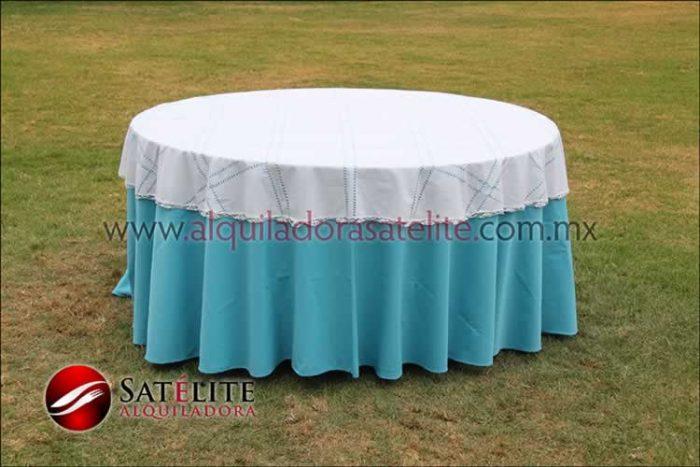 Mantel redondo azul turquesa deshilado blanco