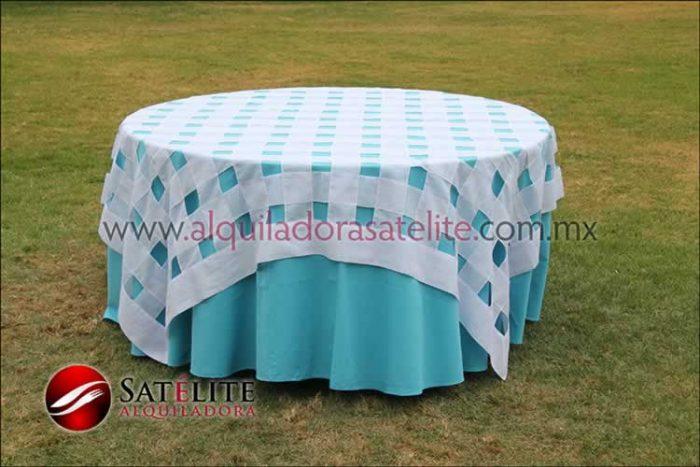 Mantel redondo azul turquesa entrelazado blanco