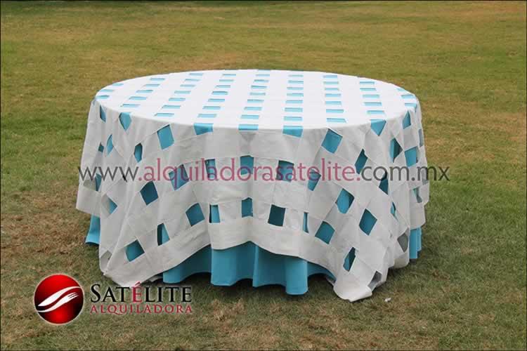 Mantel redondo azul turquesa entrelazado manta