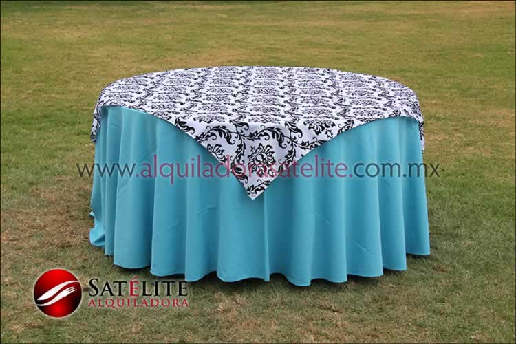 Mantel redondo azul turquesa estampado blanco y negro