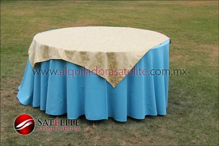 Mantel redondo azul turquesa jackard