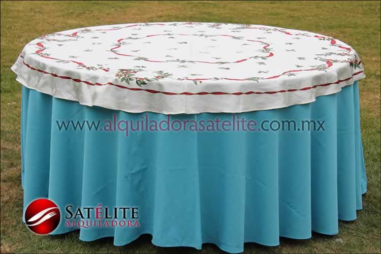 Mantel redondo azul turquesa navideño marfil