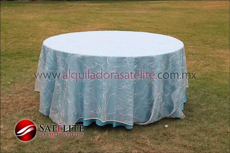 Mantel redondo azul turquesa organza alistonado
