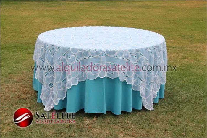 Mantel redondo azul turquesa organza blanco