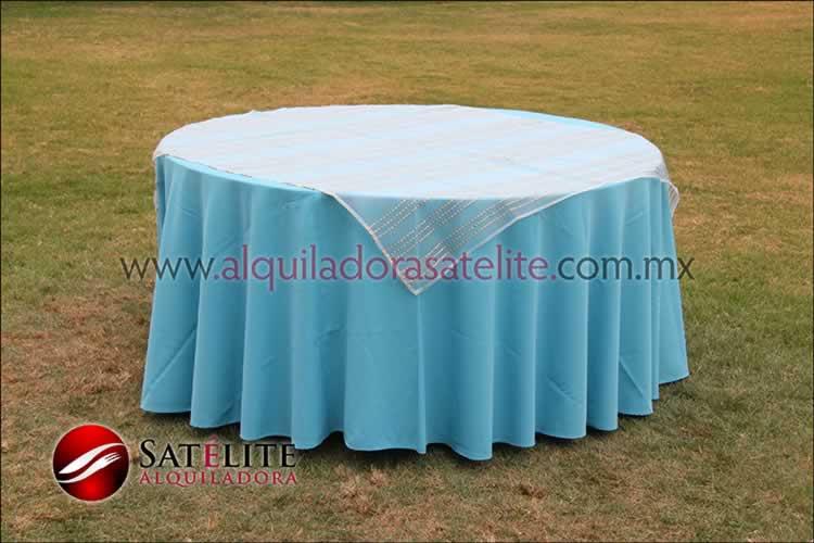 Mantel redondo azul turquesa organza blanco oro