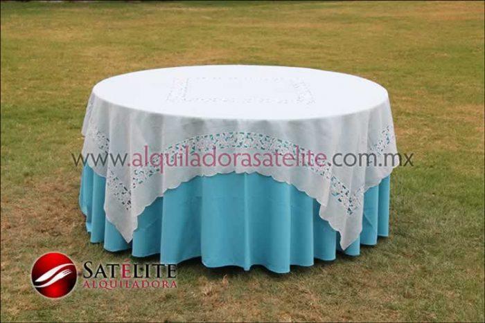 Mantel redondo azul turquesa organza marfil