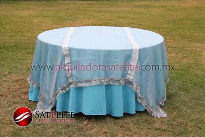 Mantel redondo azul turquesa organza plata