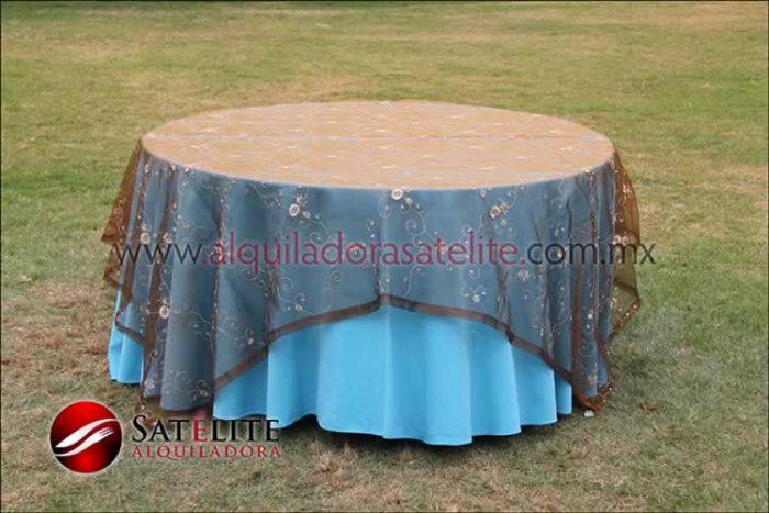 Mantel redondo azul turquesa organza shedrón