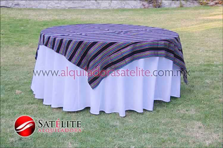 Mantel redondo blanco cambaya