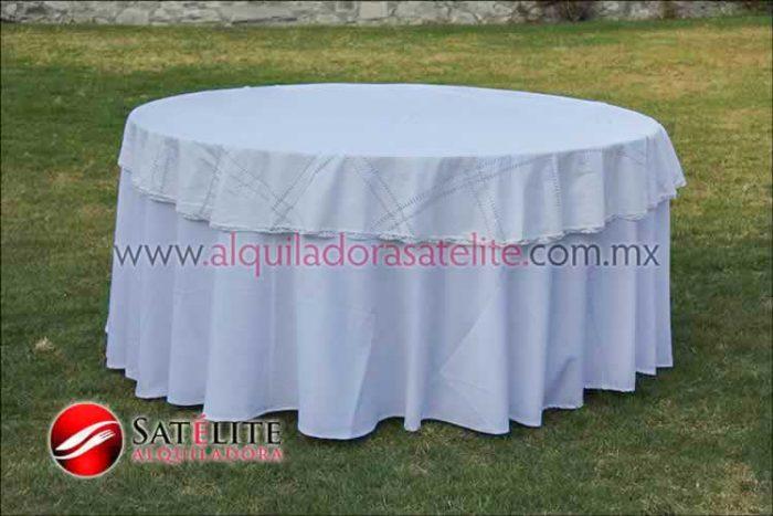 Mantel redondo blanco deshilado blanco