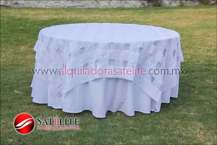 Mantel redondo blanco entrelazado blanco
