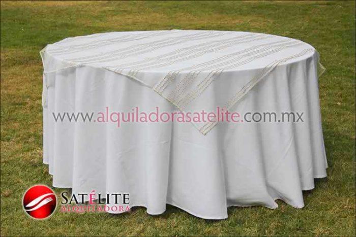 Mantel redondo blanco organza blanco oro