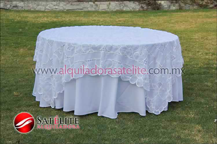 Mantel redondo blanco organza blanco