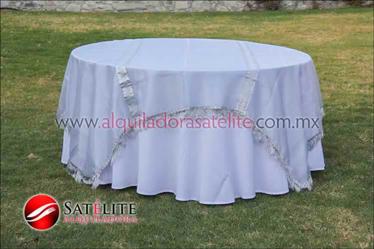 Mantel redondo blanco organza plata