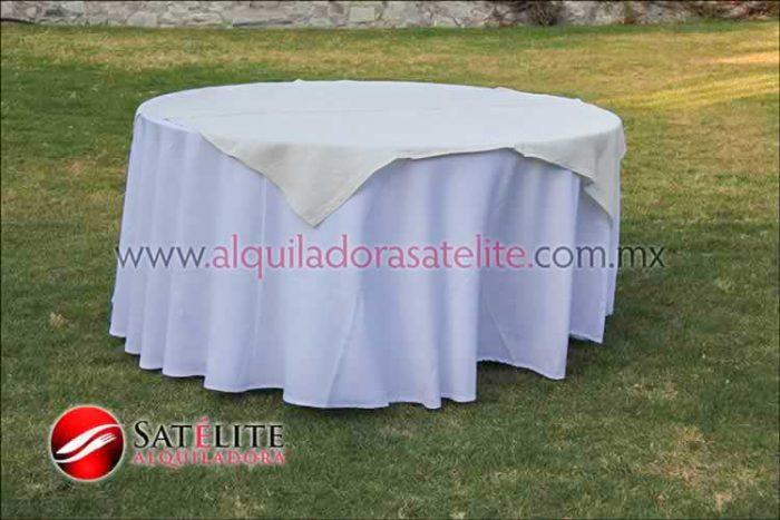 Mantel redondo blanco yute