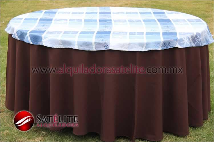 Mantel redondo café chocolate navideño azul
