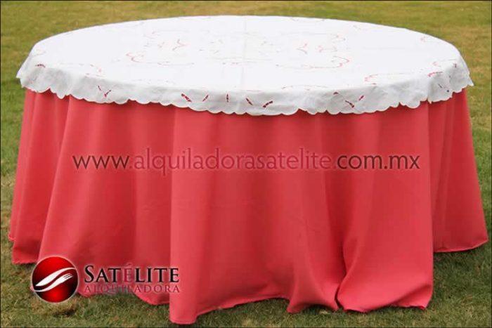 Mantel redondo coral calado