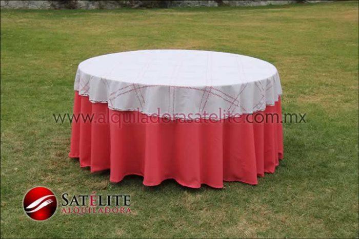Mantel redondo coral deshilado blanco