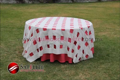 Mantel redondo coral entrelazado manta