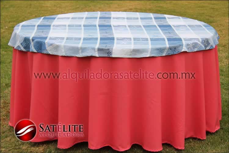 Mantel redondo coral navideño azul