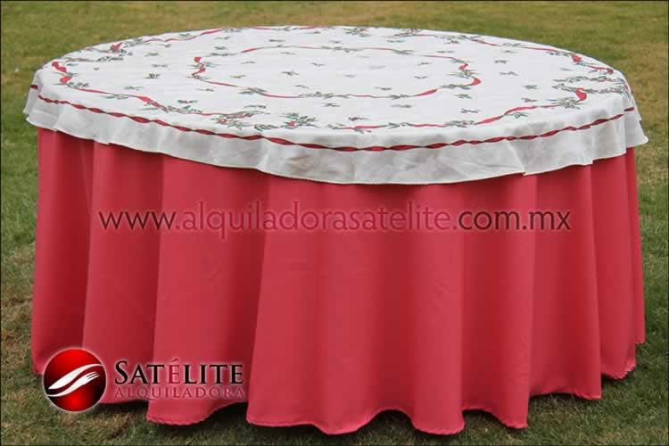 Mantel redondo coral navideño marfil