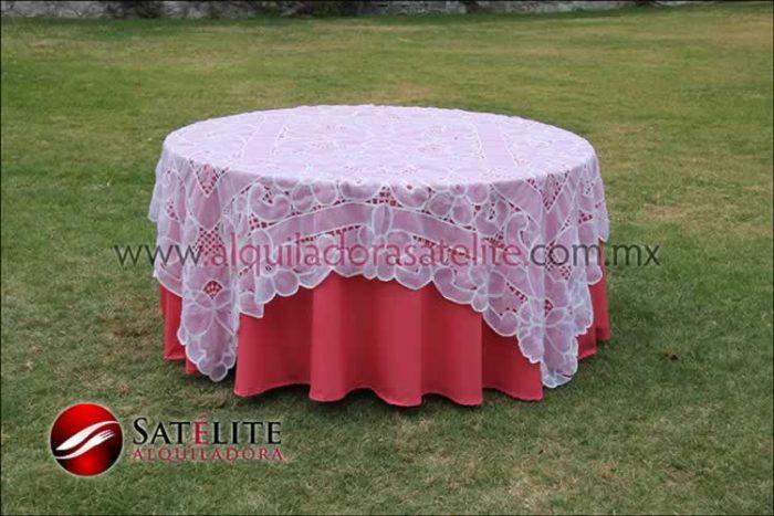 Mantel redondo coral organza blanco