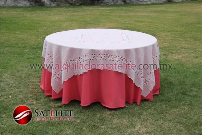 Mantel redondo coral organza marfil